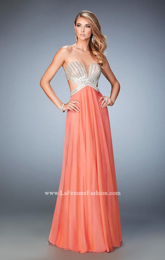 Picture of: Sweetheart Chiffon Gown with Cut Outs and Crystals in Orange, Style: 22179, Detail Picture 5