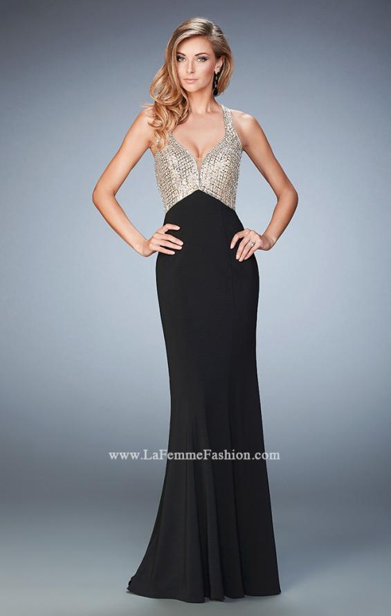 Picture of: Racer Back Mermaid Prom Dress with Crystals and Sequins in Black, Style: 22189, Main Picture