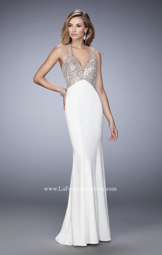 Picture of: Racer Back Mermaid Prom Dress with Crystals and Sequins in White, Style: 22189, Detail Picture 1