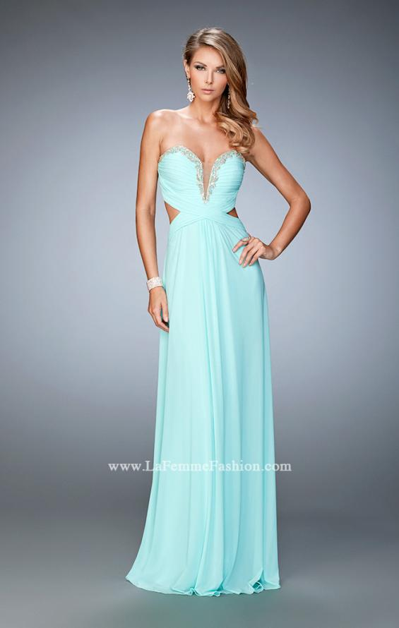 Picture of: Glam Prom Dress with Cut Outs and Crystal Gem Design in Blue, Style: 22196, Main Picture