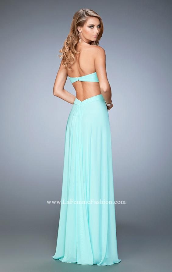 Picture of: Glam Prom Dress with Cut Outs and Crystal Gem Design in Blue, Style: 22196, Back Picture