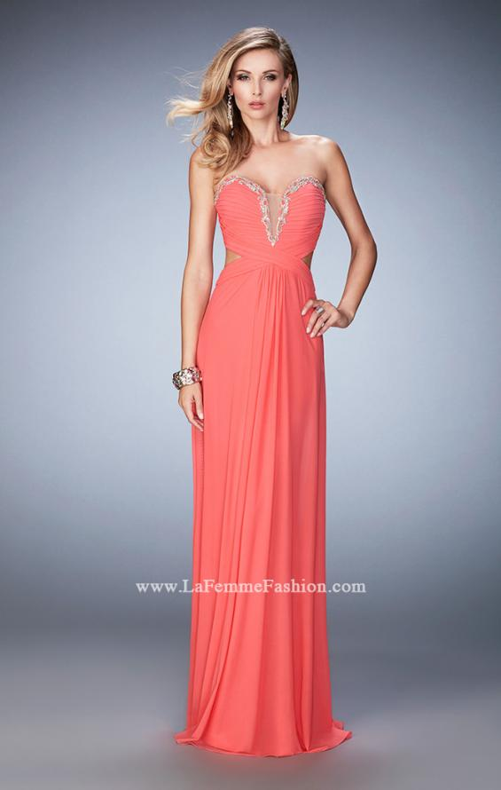 Picture of: Glam Prom Dress with Cut Outs and Crystal Gem Design in Orange, Style: 22196, Detail Picture 1