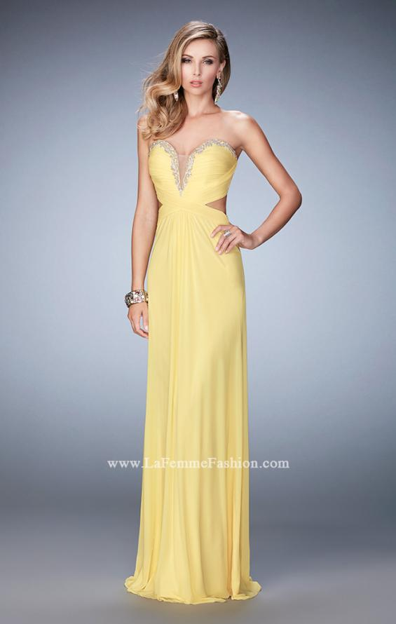 Picture of: Glam Prom Dress with Cut Outs and Crystal Gem Design in Yellow, Style: 22196, Detail Picture 2