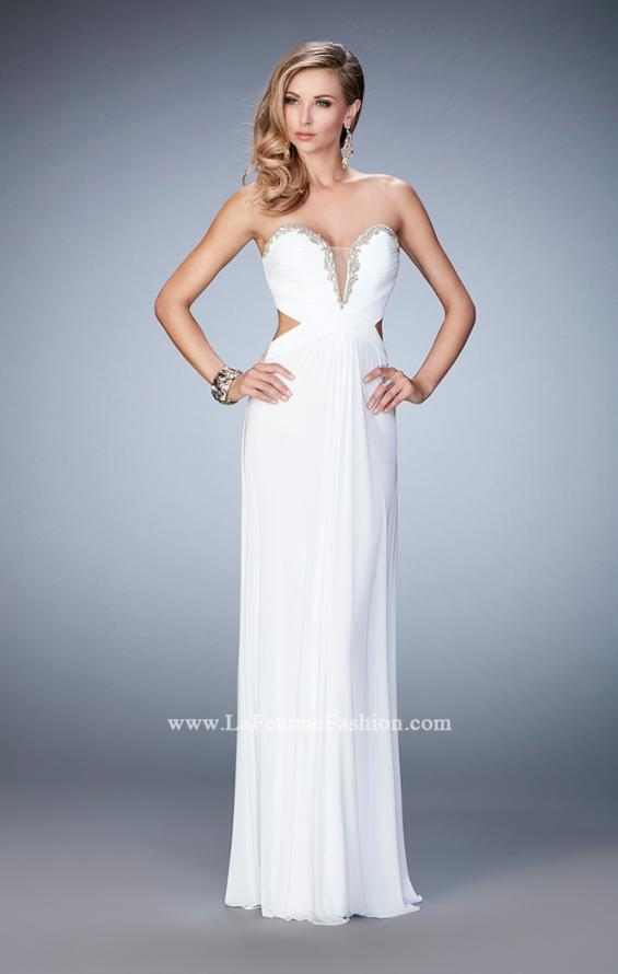 Picture of: Glam Prom Dress with Cut Outs and Crystal Gem Design in White, Style: 22196, Detail Picture 3