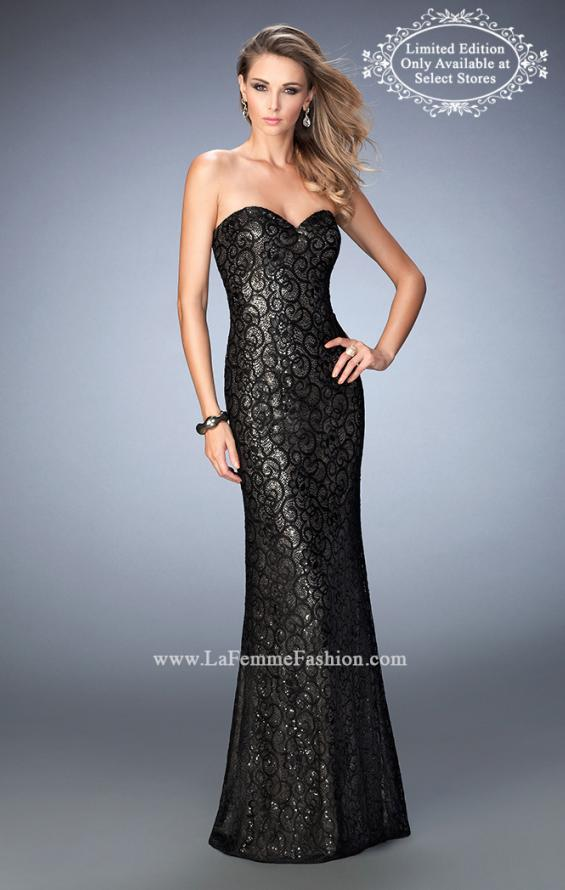 Picture of: Long Lace Prom Gown with Gold Sequin Underlay in Black, Style: 22203, Main Picture