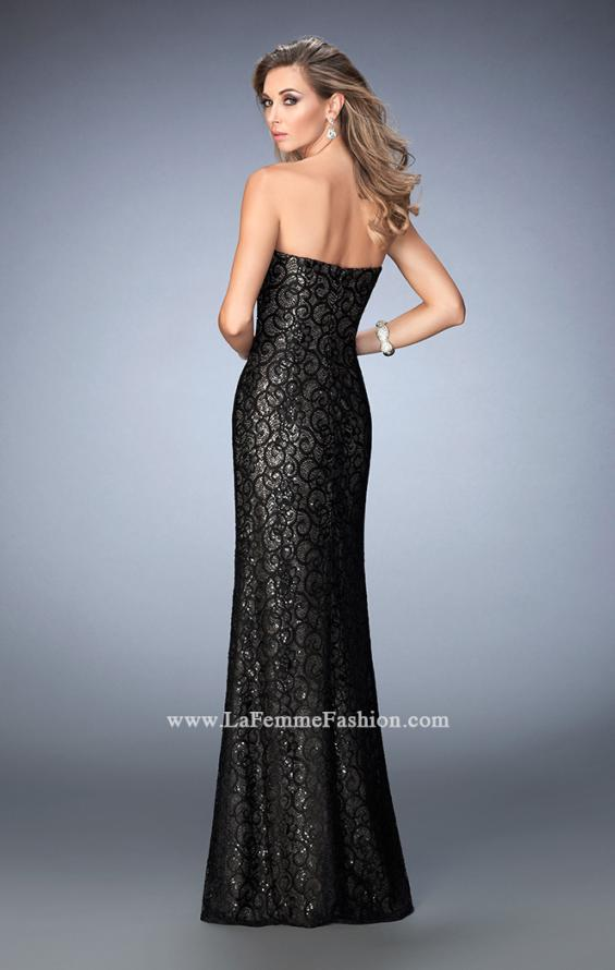 Picture of: Long Lace Prom Gown with Gold Sequin Underlay in Black, Style: 22203, Back Picture