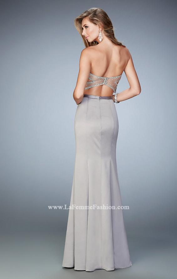 Picture of: Two Piece Long Prom Dress with Sheer Back and Stones in Silver, Style: 22207, Back Picture