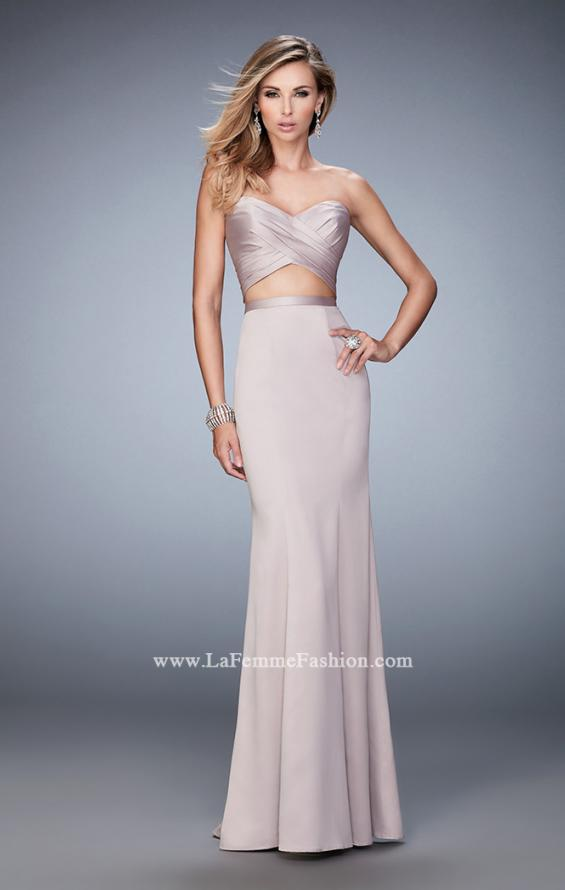 Picture of: Two Piece Long Prom Dress with Sheer Back and Stones in Pink, Style: 22207, Detail Picture 1
