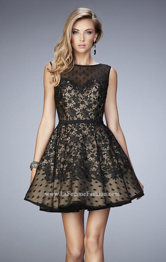 Picture of: Short Lace Dress with Polka Dots and Sheer Detail in Black, Style: 22222, Main Picture