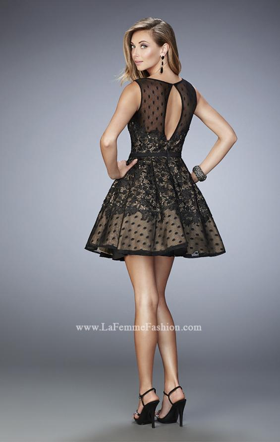 Picture of: Short Lace Dress with Polka Dots and Sheer Detail in Black, Style: 22222, Back Picture