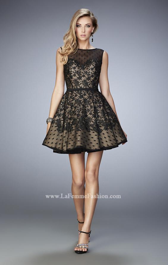 Picture of: Short Lace Dress with Polka Dots and Sheer Detail in Black, Style: 22222, Detail Picture 1