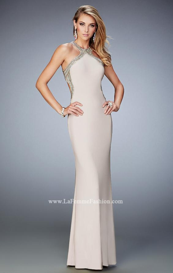 Picture of: Glam Jersey Gown with Plunging Open Back and Stones in Nude, Style: 22225, Main Picture