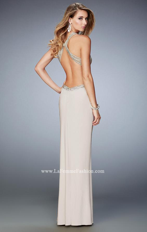 Picture of: Glam Jersey Gown with Plunging Open Back and Stones in Nude, Style: 22225, Back Picture