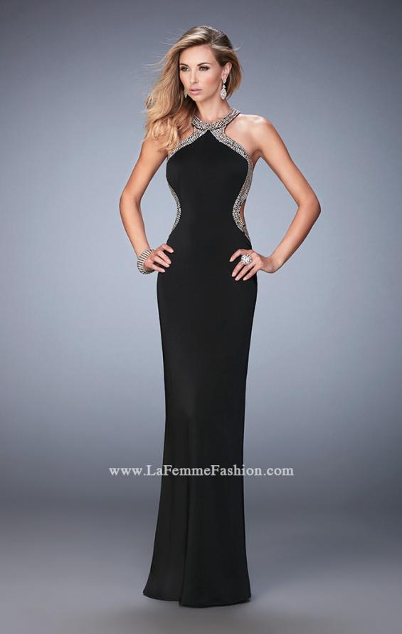 Picture of: Glam Jersey Gown with Plunging Open Back and Stones in Black, Style: 22225, Detail Picture 1