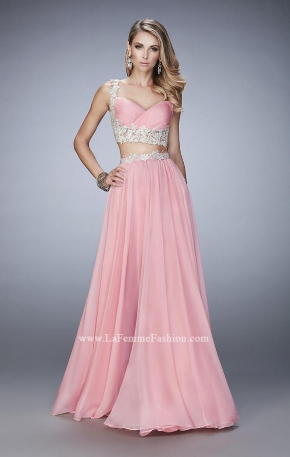 Picture of: Two Piece Chiffon Gown with Rhinestone Lace Detail in Pink, Style: 22234, Main Picture
