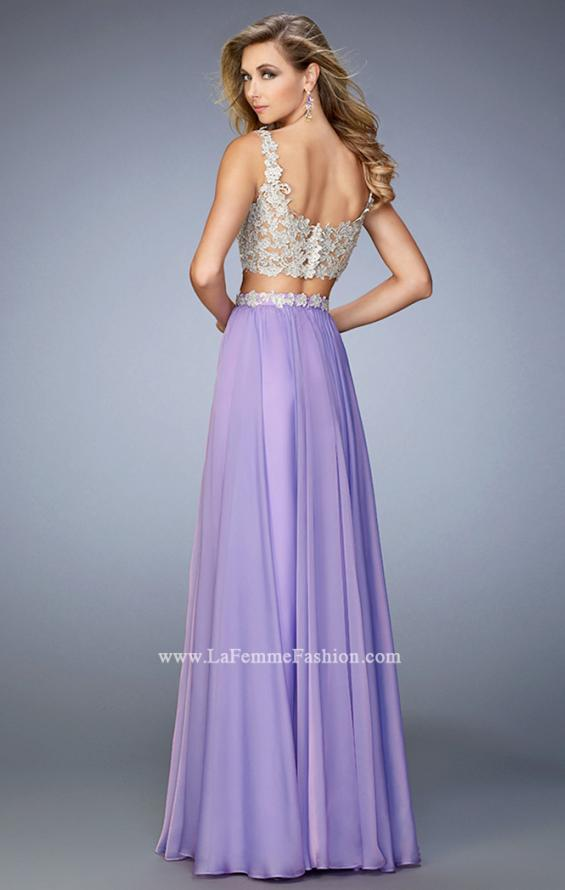 Picture of: Two Piece Chiffon Gown with Rhinestone Lace Detail in Purple, Style: 22234, Back Picture