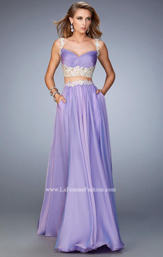 Picture of: Two Piece Chiffon Gown with Rhinestone Lace Detail in Purple, Style: 22234, Detail Picture 1