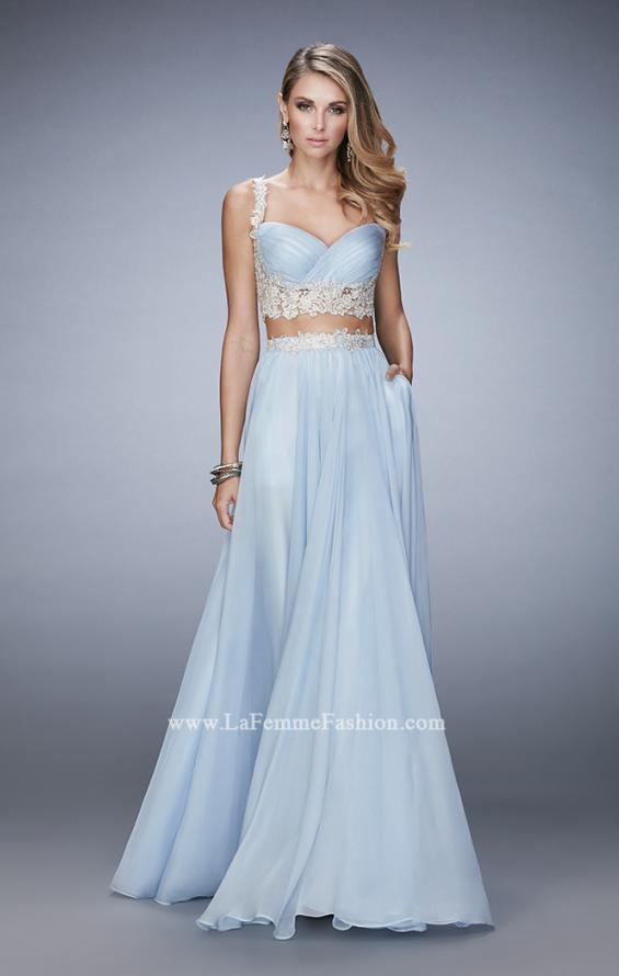 Picture of: Two Piece Chiffon Gown with Rhinestone Lace Detail in Blue, Style: 22234, Detail Picture 2