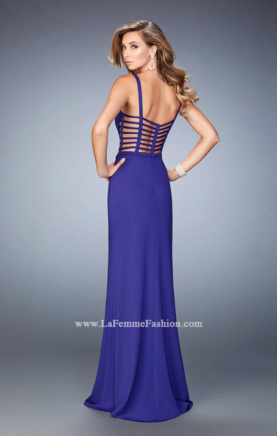 Picture of: Long Strappy Jersey Gown with Side Leg Slit, Style: 22245, Back Picture