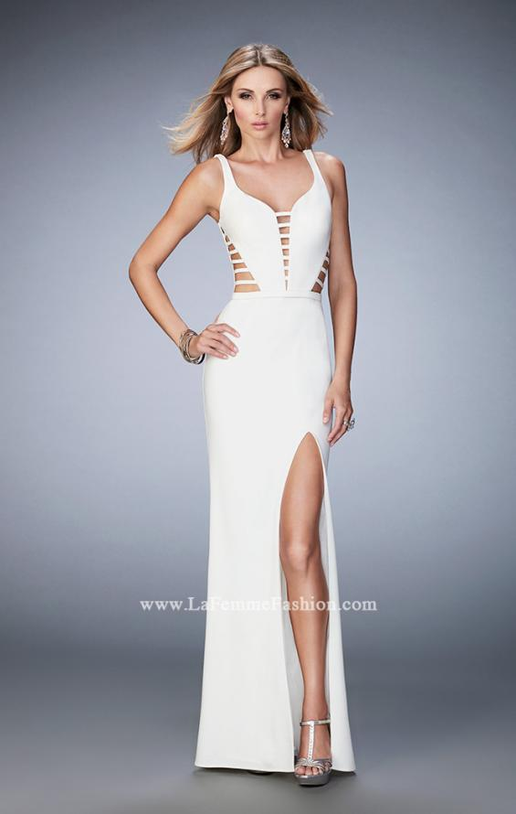 Picture of: Long Strappy Jersey Gown with Side Leg Slit, Style: 22245, Detail Picture 1