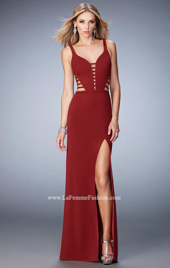 Picture of: Long Strappy Jersey Gown with Side Leg Slit, Style: 22245, Detail Picture 2