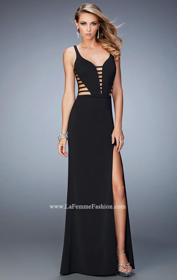 Picture of: Long Strappy Jersey Gown with Side Leg Slit, Style: 22245, Detail Picture 3
