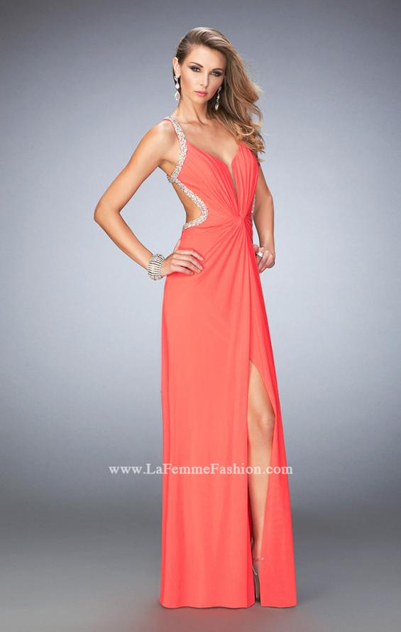 Picture of: Crystal Embellished Long Prom Gown with Gathers, Style: 22248, Main Picture