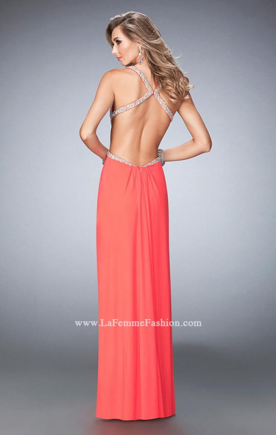 Picture of: Crystal Embellished Long Prom Gown with Gathers, Style: 22248, Back Picture