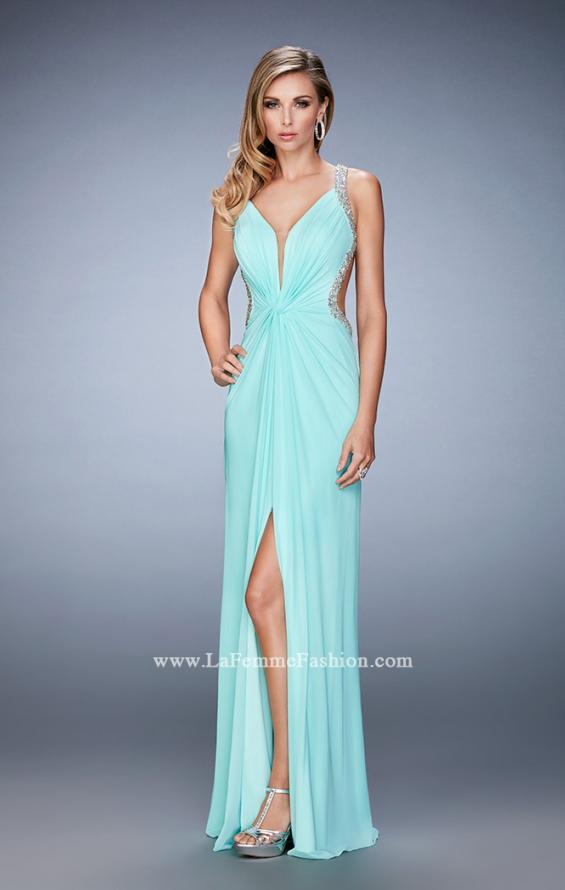Picture of: Crystal Embellished Long Prom Gown with Gathers, Style: 22248, Detail Picture 2