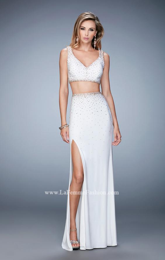 Picture of: V Neckline Two Piece Jersey Dress with Studs and Slit, Style: 22249, Detail Picture 1