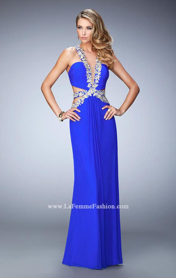 Picture of: Racer Back Long Prom Dress with Gold Embroidery in Blue, Style: 22252, Main Picture