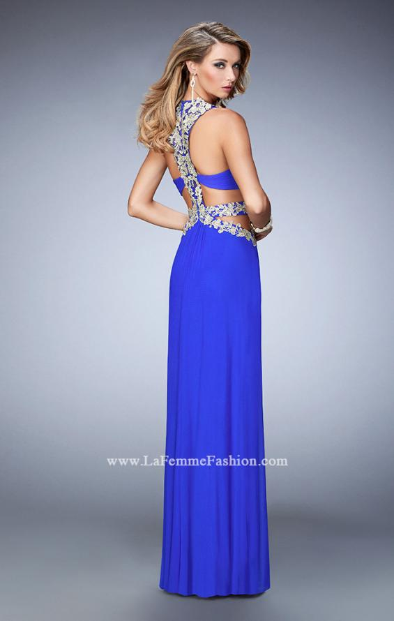Picture of: Racer Back Long Prom Dress with Gold Embroidery in Blue, Style: 22252, Back Picture
