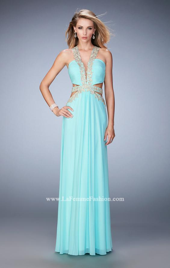 Picture of: Racer Back Long Prom Dress with Gold Embroidery in Blue, Style: 22252, Detail Picture 1