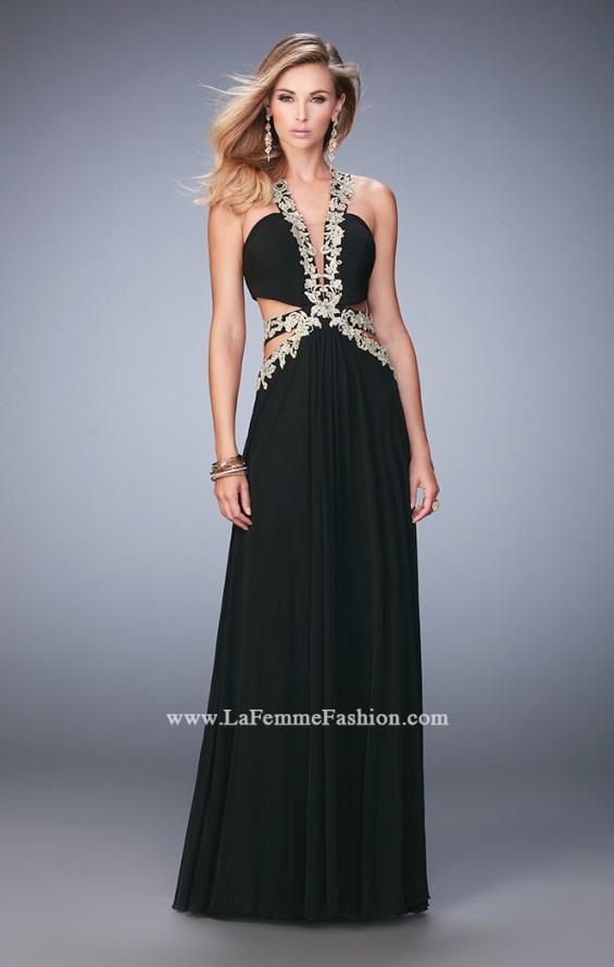 Picture of: Racer Back Long Prom Dress with Gold Embroidery in Black, Style: 22252, Detail Picture 2