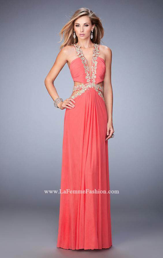 Picture of: Racer Back Long Prom Dress with Gold Embroidery in Orange, Style: 22252, Detail Picture 3