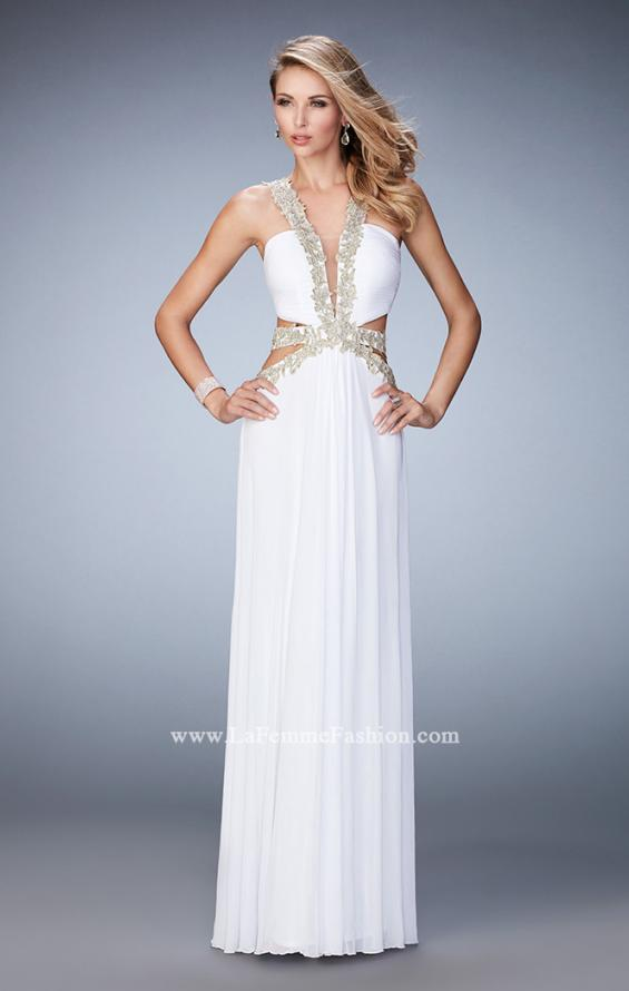 Picture of: Racer Back Long Prom Dress with Gold Embroidery in White, Style: 22252, Detail Picture 4