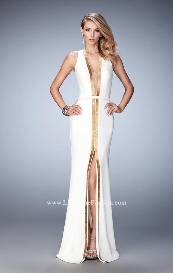 Picture of: Open back Jersey Prom Dress with Slit and Beading in White, Style: 22256, Main Picture