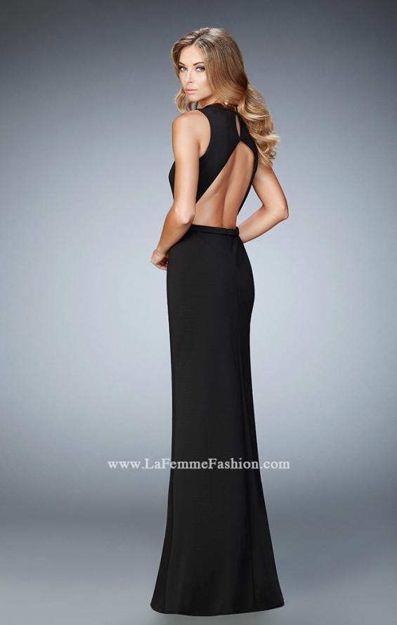 Picture of: Open back Jersey Prom Dress with Slit and Beading in Black, Style: 22256, Back Picture