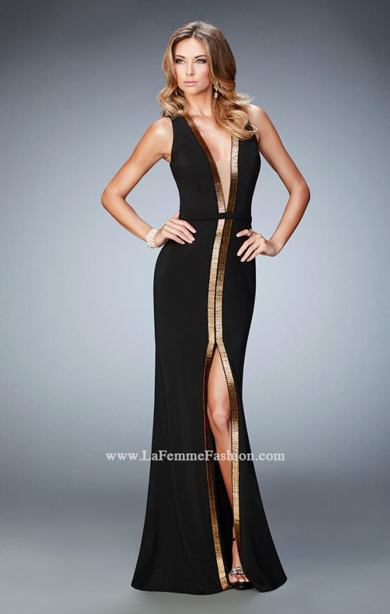Picture of: Open back Jersey Prom Dress with Slit and Beading in Black, Style: 22256, Detail Picture 1