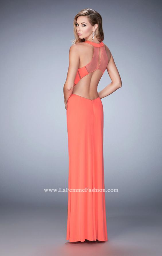 Picture of: Geo Cut Jersey Prom Dress with Sheer Racer Back, Style: 22259, Back Picture