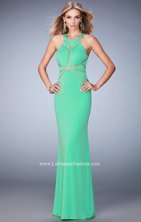 Picture of: Geo Cut Jersey Prom Dress with Sheer Racer Back, Style: 22259, Detail Picture 1