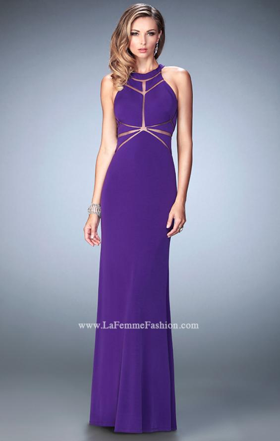 Picture of: Geo Cut Jersey Prom Dress with Sheer Racer Back, Style: 22259, Detail Picture 3