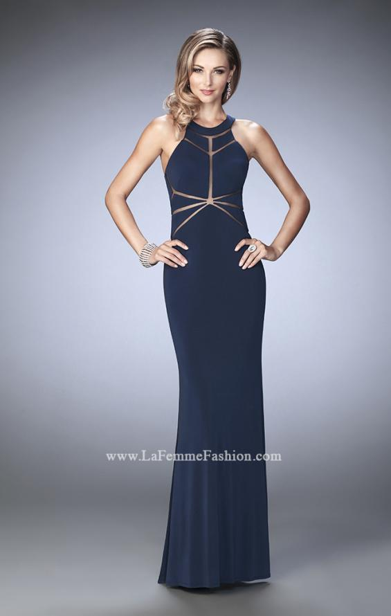 Picture of: Geo Cut Jersey Prom Dress with Sheer Racer Back, Style: 22259, Detail Picture 4
