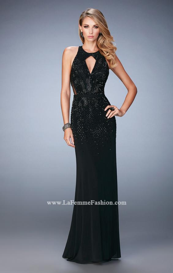 Picture of: Net Prom Gown with Open Back and Rhinestones, Style: 22266, Detail Picture 1