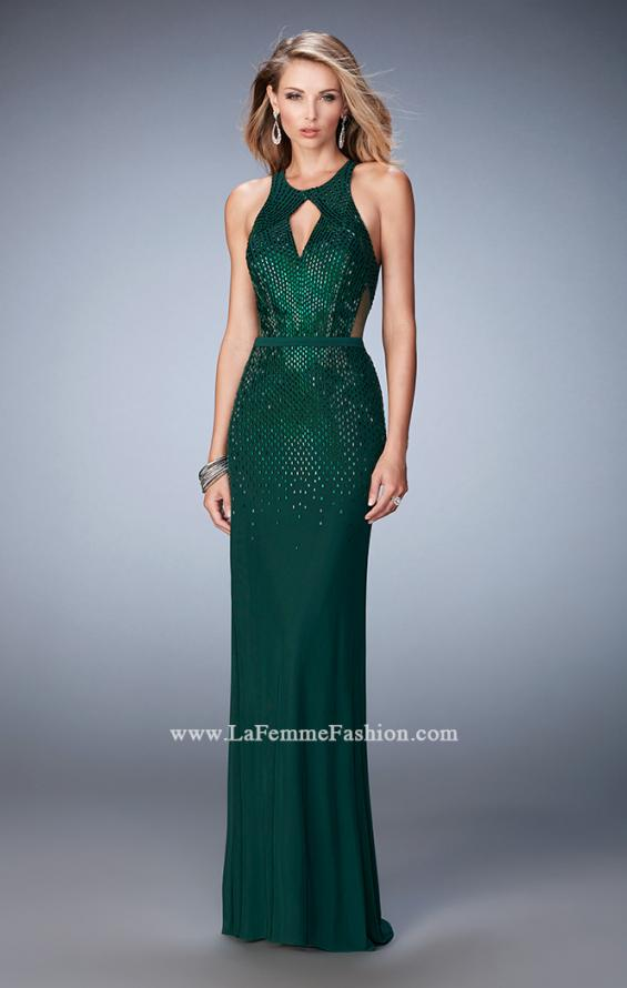 Picture of: Net Prom Gown with Open Back and Rhinestones, Style: 22266, Detail Picture 2