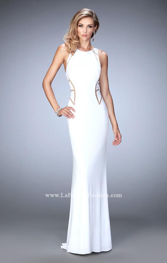Picture of: Panel Design Long Jersey Prom Dress in White, Style: 22274, Main Picture