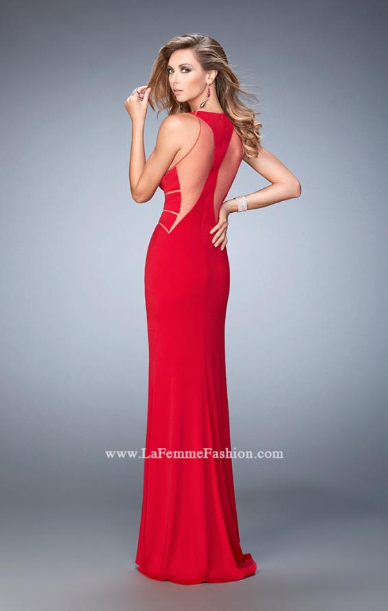 Picture of: Panel Design Long Jersey Prom Dress in Red, Style: 22274, Back Picture