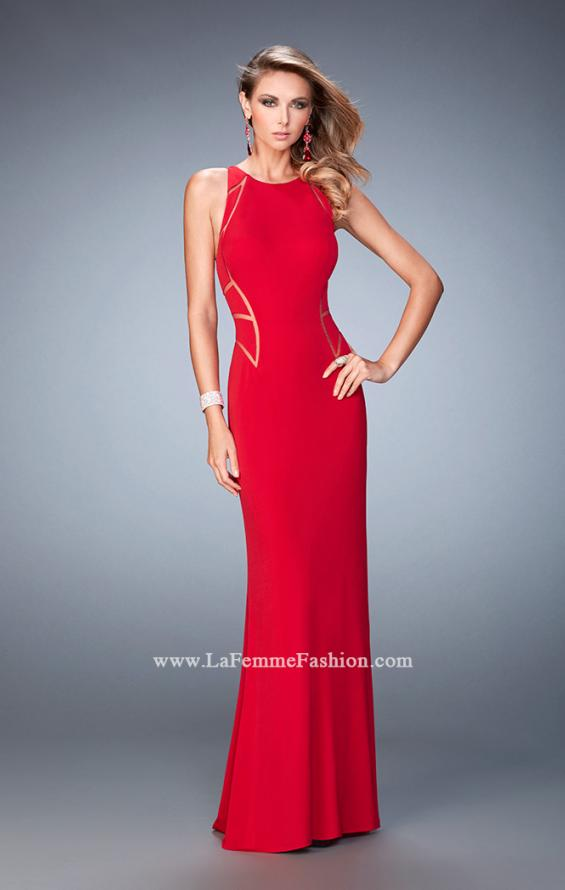 Picture of: Panel Design Long Jersey Prom Dress in Red, Style: 22274, Detail Picture 1