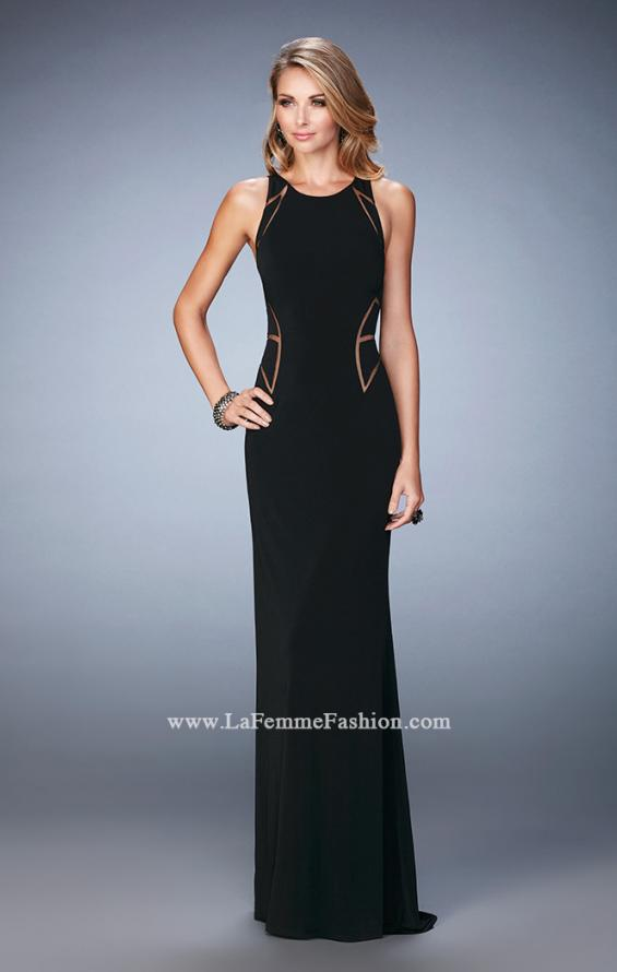 Picture of: Panel Design Long Jersey Prom Dress in Black, Style: 22274, Detail Picture 2