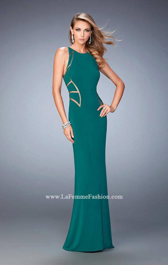 Picture of: Panel Design Long Jersey Prom Dress in Green, Style: 22274, Detail Picture 3